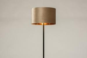 vloerlamp 30969 landelijk rustiek modern eigentijds klassiek stof metaal zwart mat koper taupe