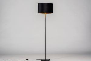 vloerlamp 30970 landelijk rustiek modern eigentijds klassiek stof metaal zwart mat goud