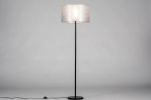 vloerlamp 30971 landelijk rustiek eigentijds klassiek stof metaal zwart mat zilvergrijs zilver  oud zilver