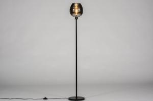 vloerlamp 30972 landelijk rustiek eigentijds klassiek glas metaal zwart mat