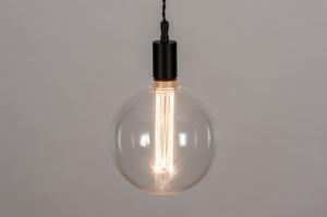 hanglamp 30973 industrie look landelijk rustiek modern retro glas helder glas metaal zwart mat rond