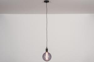 hanglamp 30974 industrie look landelijk rustiek modern retro glas metaal zwart mat rond