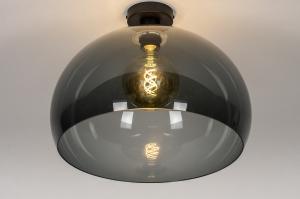 plafondlamp 30975 modern retro kunststof acrylaat kunststofglas metaal zwart mat grijs rond