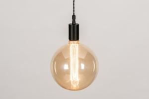 hanglamp 30976 glas zacht geel metaal zwart mat rond