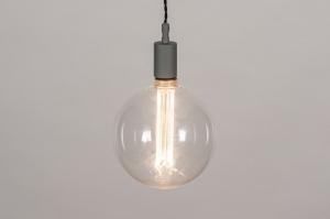 hanglamp 30977 industrie look modern glas helder glas metaal grijs betongrijs rond