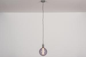 hanglamp 30978 industrie look modern glas metaal grijs betongrijs rond