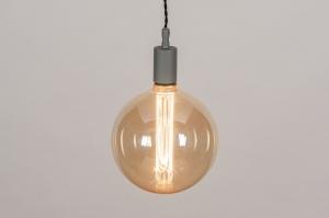 hanglamp 30979 industrie look modern glas zacht geel metaal grijs betongrijs rond