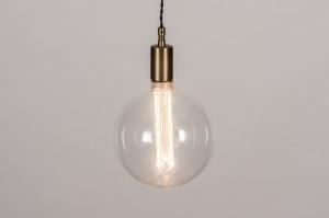 hanglamp 30980 industrie look modern eigentijds klassiek glas helder glas messing geschuurd brons metaal brons messing rond