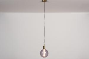 hanglamp 30981 industrie look modern eigentijds klassiek glas messing geschuurd brons metaal brons mat messing rond