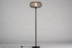 vloerlamp 30983 industrie look modern stoer raw metaal zwart mat