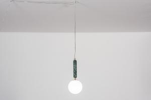 Pendelleuchte 30984 Design laendlich rustikal modern zeitgemaess klassisch Messing Marmor Gruen Matt Messing