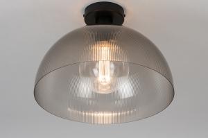 plafondlamp 30989 industrie look design modern stoer raw kunststof grijs bruin rond