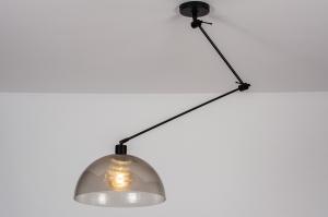 hanglamp 30990 industrie look design modern kunststof metaal zwart mat grijs bruin