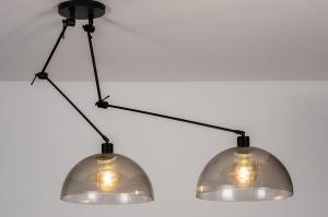 hanglamp 30991 industrie look design modern kunststof metaal zwart mat grijs bruin