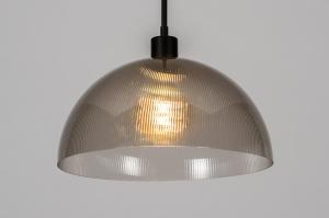 hanglamp 30992 industrie look design modern stoer raw kunststof grijs bruin rond