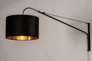 wandlamp 30993 landelijk rustiek modern klassiek eigentijds klassiek stof metaal zwart mat goud