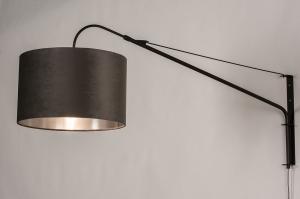 wandlamp 30994 landelijk rustiek modern klassiek eigentijds klassiek stof metaal zwart mat grijs zilver  oud zilver