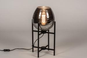 tafellamp 30997 landelijk rustiek modern eigentijds klassiek glas metaal zwart mat