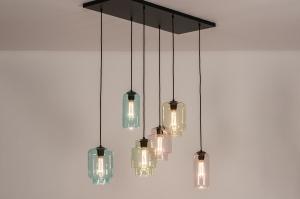 hanglamp 30998 sale landelijk rustiek modern eigentijds klassiek glas helder glas metaal zwart mat groen roze blauw geel
