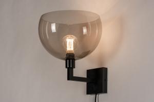 wandlamp 30999 landelijk rustiek modern eigentijds klassiek art deco kunststof metaal zwart mat grijs bruin