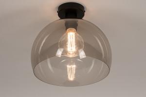 plafondlamp 31000 modern retro eigentijds klassiek kunststof metaal zwart grijs bruin rond