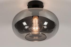 plafondlamp 31002 modern eigentijds klassiek glas metaal zwart mat