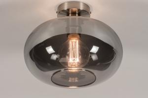 plafondlamp 31003 modern eigentijds klassiek glas staal rvs metaal nikkel staalgrijs