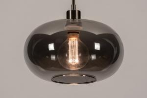Pendelleuchte 31005 Design modern Retro zeitgemaess klassisch Art deco Glas Edelstahl Metall stahlgrau rund