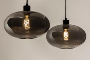 hanglamp 31006 modern retro eigentijds klassiek art deco glas zwart