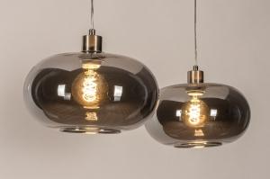 hanglamp 31007 modern retro eigentijds klassiek art deco glas staal rvs zwart grijs staalgrijs