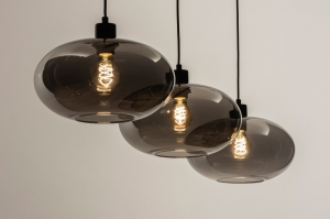hanglamp 31008 modern retro eigentijds klassiek art deco glas zwart