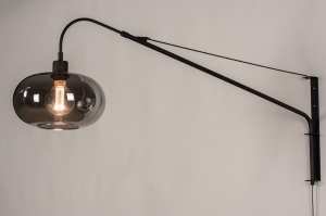 wandlamp 31009 landelijk rustiek modern klassiek eigentijds klassiek glas metaal zwart mat