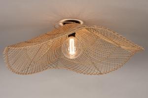 plafondlamp 31021 landelijk rustiek modern retro riet naturel rond