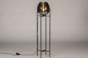 vloerlamp 31023 landelijk rustiek modern eigentijds klassiek glas metaal zwart mat