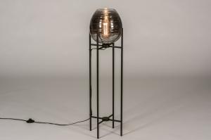 vloerlamp 31024 landelijk rustiek modern eigentijds klassiek glas metaal zwart mat
