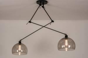 hanglamp 31028 modern retro eigentijds klassiek kunststof metaal zwart mat