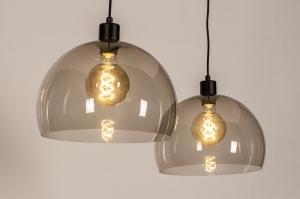 hanglamp 31029 landelijk rustiek modern eigentijds klassiek art deco kunststof metaal zwart mat grijs bruin