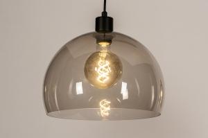 hanglamp 31030 landelijk rustiek modern eigentijds klassiek art deco kunststof metaal zwart mat grijs bruin