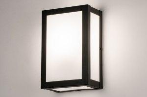 buitenlamp 31033 landelijk rustiek klassiek eigentijds klassiek glas wit opaalglas staal rvs metaal zwart mat rechthoekig