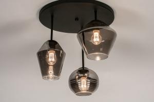 plafondlamp 31036 modern retro eigentijds klassiek glas metaal zwart mat grijs rond
