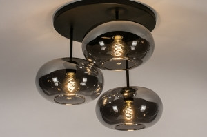 plafondlamp 31037 landelijk rustiek modern retro eigentijds klassiek glas metaal zwart mat