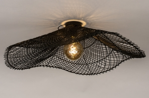 plafondlamp 31038 landelijk rustiek modern retro riet zwart mat rond