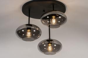 plafondlamp 31039 modern retro eigentijds klassiek glas metaal zwart mat grijs rond