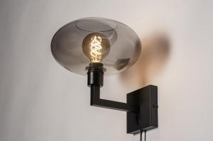 wandlamp 31040 modern retro eigentijds klassiek glas metaal zwart mat grijs rond vierkant