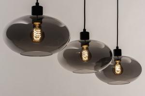 hanglamp 31041 modern retro eigentijds klassiek glas metaal zwart mat grijs rond langwerpig