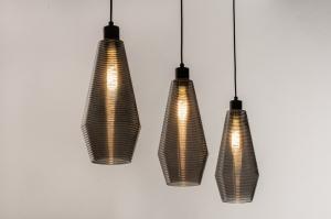 hanglamp 31042 landelijk rustiek modern eigentijds klassiek glas metaal zwart mat grijs rond langwerpig