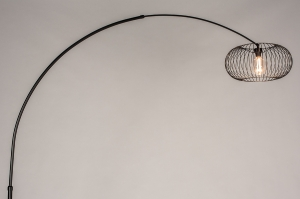vloerlamp 31044 industrie look modern retro metaal zwart mat rond