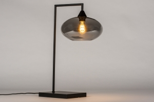 tafellamp 31045 landelijk rustiek modern retro eigentijds klassiek glas metaal zwart mat grijs rond rechthoekig