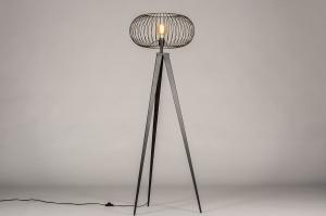 vloerlamp 31046 industrie look landelijk rustiek modern metaal zwart mat rond