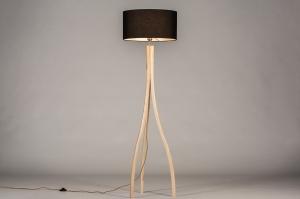 vloerlamp 31048 design modern hout licht hout stof zwart hout langwerpig
